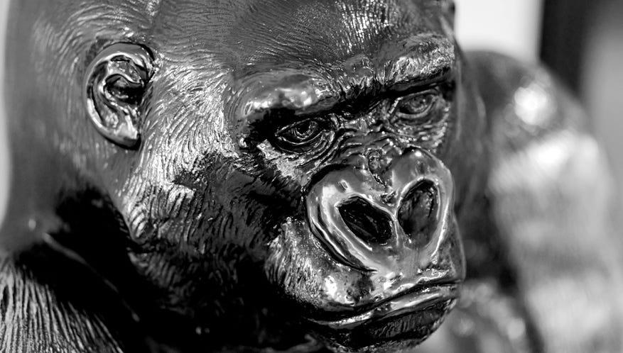 Detail of the Asprey Silver Gorilla Safe