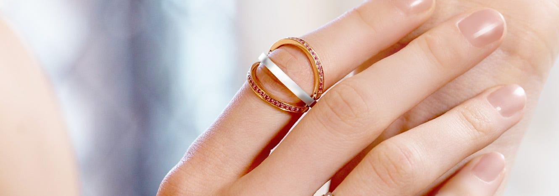 Close up of Asprey Flip Ring being worn
